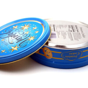 Customized print empty cookie tins bulk wholesale open and bottom show