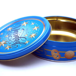Customized print empty cookie tins bulk wholesale opened